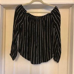 Billabong off the shoulder black white stripe top